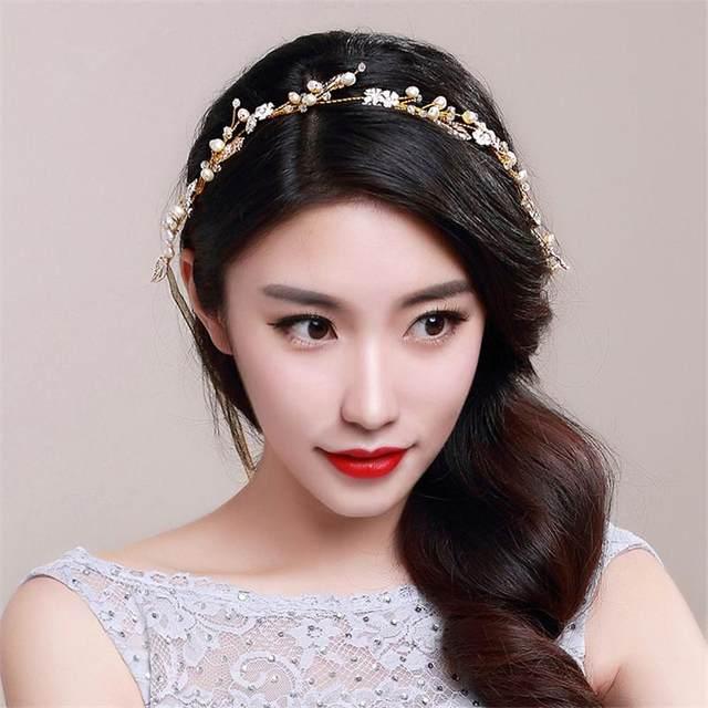 Online Shop Handmade Pearl Jewelry Head Chain Gold Headband Tiara ...