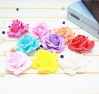 6 cm Róży kwiat Sztuczne kwiaty symulacja Rose Garland Ślubne dekoracje DIY Stanik 100 sztuk Darmowa Wysyłka W81