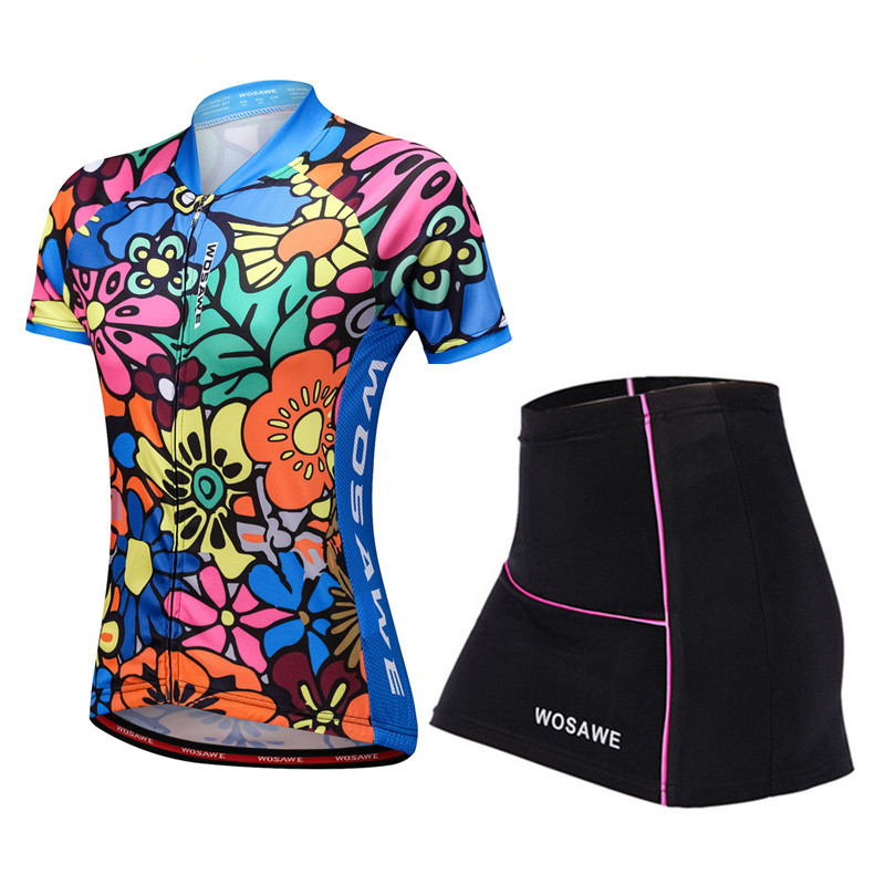 WOSAWE Short Sleeve Summer Cycling Clothes Jersey Dress Set Maillot MTB Bike Bicycle Gel Pad Mini Skirt Cycle Women 39 s Clothing in Cycling Sets from Sports amp Entertainment