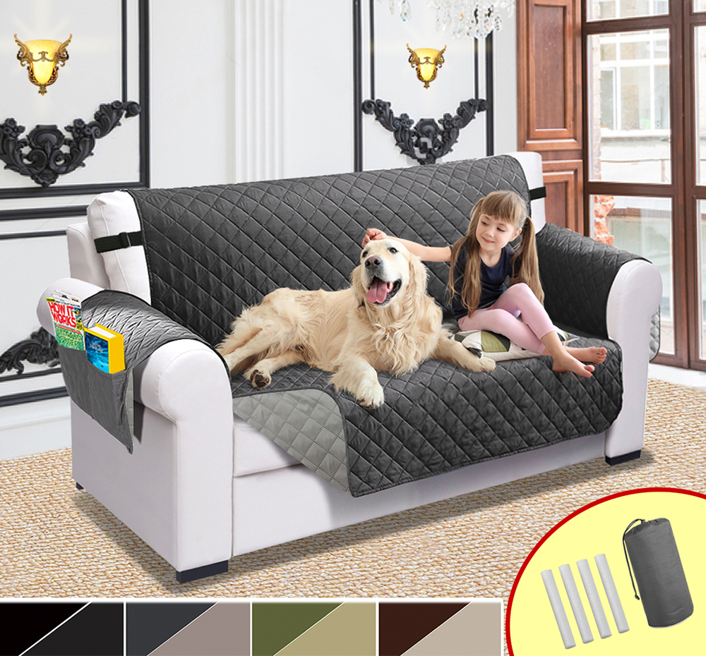Sofa Cover For Pet Dogs and Kids Sectional Sofa Couch Cover For Living Room Waterproof Quilted Recliner Slipcovers