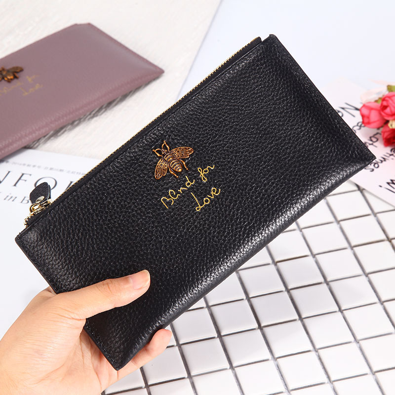 New Famous Brand fashion Genuine Leather Women long Wallets Little bee Design Clutch Purse Ladies Card Holder Money Purses