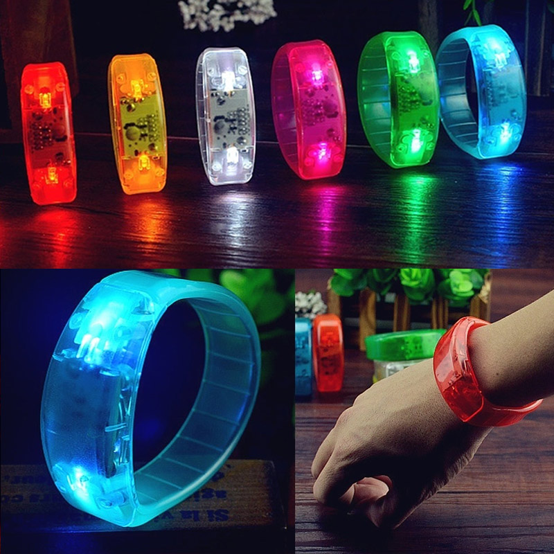 Unisex Sound Controlled LED Light Up Bracelet Activated Glow Flash Bangle Festival Party Decor Gift C579 LXH