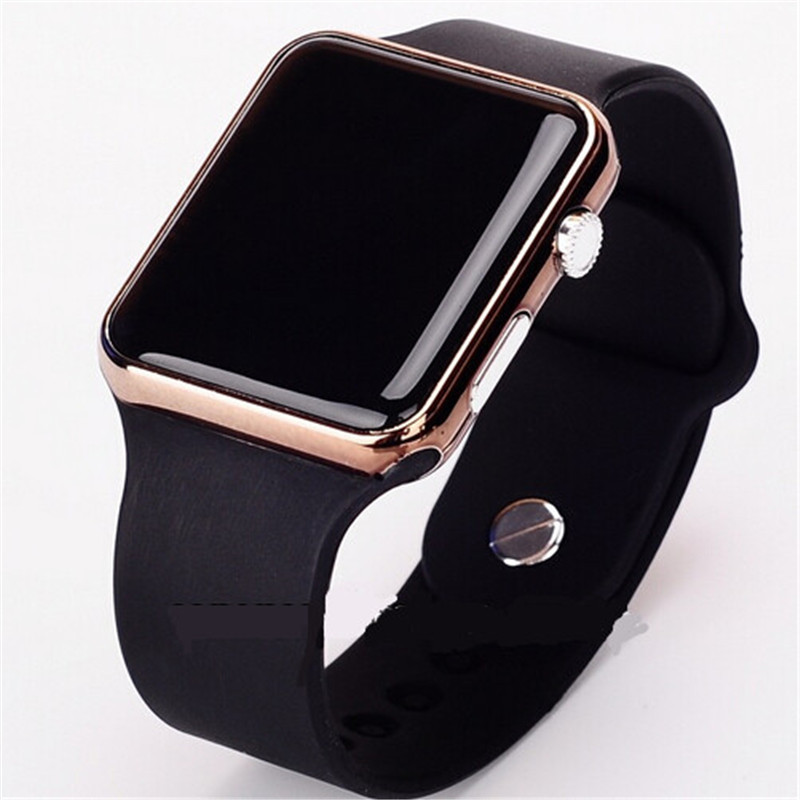 Digital Watch Clock Mirror Frame Square Face Silicone Hours Sport Metal Hot Band Red title=