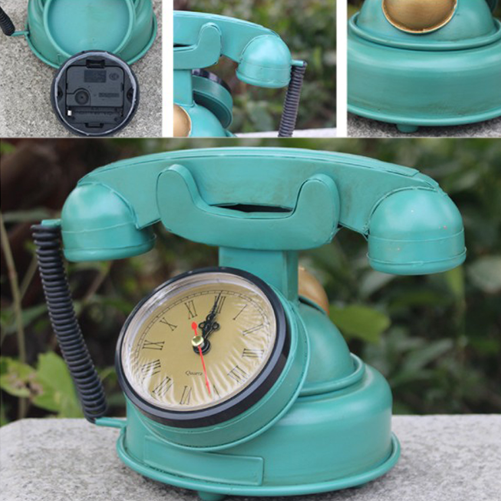 Vintage Rotary Telephone Statue Trendy Old Phone Figurine Desk Decoration Ornament Retro Design