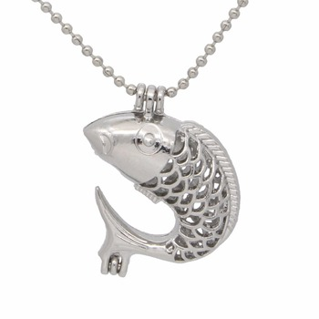 1pc Silver Plated Fish Locket Necklace Cage Pendant Fit Bead/Pearl 20