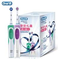 Oral b vitalidade escova de dentes elétrica recarregável oralb cabeças escova 3d branco 2 minutos temporizador precisão limpo frete grátis|Escovas de dente elétricas| |  -