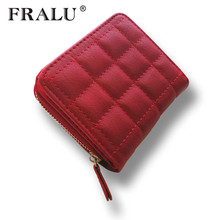 Women Short Wallets PU Leather Female Plaid Purses  Card Holder Wallet Fashion Woman Small Zipper Wallet With Coin Purse