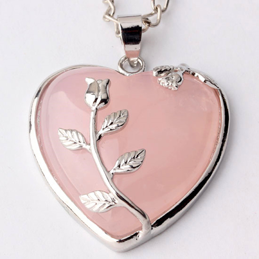 Kraft-beads Romantic Silver Plated Inlay Leaf Flower Natural Rose Pink Quartz Forever Love Heart Pendant Charms Jewelry