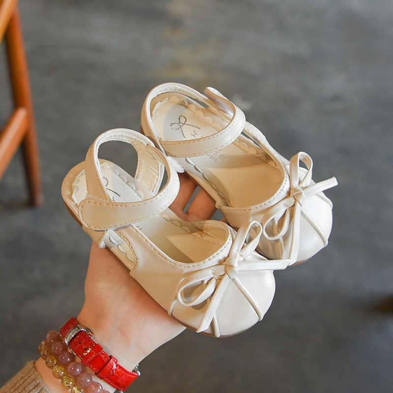 Bakkotie 2019 חדש קיץ בנות חמוד ורוד קשת אופנה סנדלי ילדי עור מפוצל נעלי נסיכה מתוק רך תחתון החלקה דירות