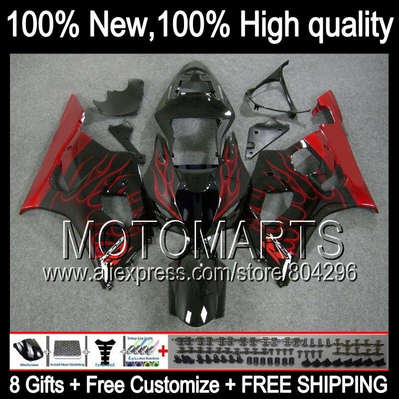 Комбинезоны K3 для SUZUKI красный черный GSX R1000 03 04 GSX R1000 03 04 8 #7115 GSXR 1000 2003 2004 красный черный GSXR 1000 GSXR1000 обтекатель