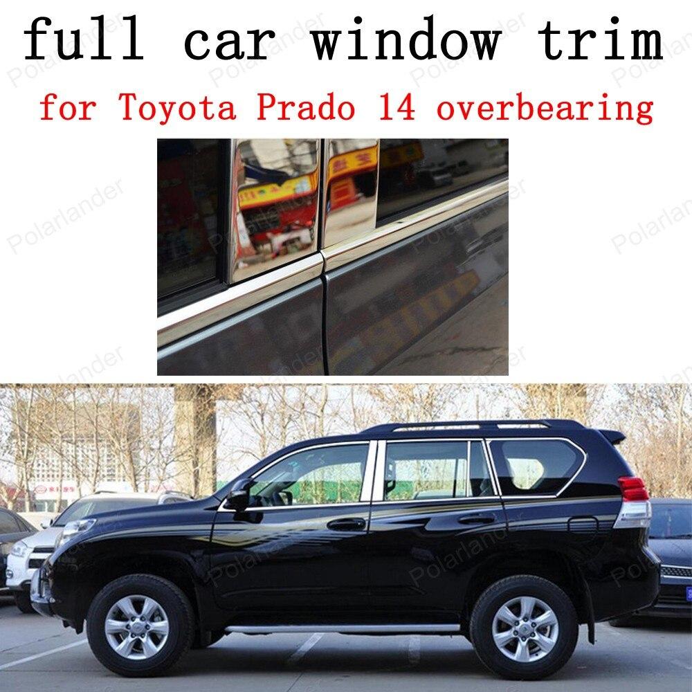 Accessoires extérieurs de voiture de garniture de fenêtre complète d'acier inoxydable pour le roulement de Toyota Prado 2014 avec le style de voiture de pilier central