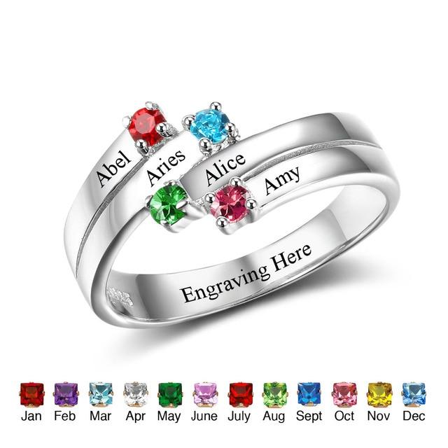 Personalisierte Familie Ring 925 Sterling Silber Gravieren Namen 4