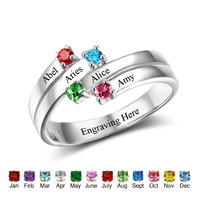 Personalized Family Ring 925 Sterling Silver Engrave Names 4 Birthstone Custom Rings Gift For Children And Parents(RI102507)