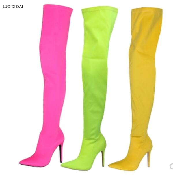 2018 summer candy color women boots skinny booties thin heel over knee high boots ladies party shoes elastic cloth booties women