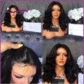 7A Curto Bob Cheia Do Laço Perucas de Cabelo Humano Para As Mulheres Negras brasileiro Virgem Cabelo Ondulado Parte Dianteira Do Laço Perucas de Cabelo Humano Bob Curto perucas