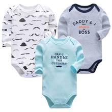 Купить с кэшбэком Infant Boys Clothes Newborn Toddler Babies 3-24 Months Long Sleeve Bodysuit Baby Girls Clothing 3 Pack
