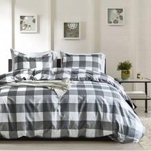 Classic Bedding Set 3 Size Grey Plaid Bed Linen Pillowcase Duvet Cover Set Pastoral Bedclothes Bedroom Decor Home Textile