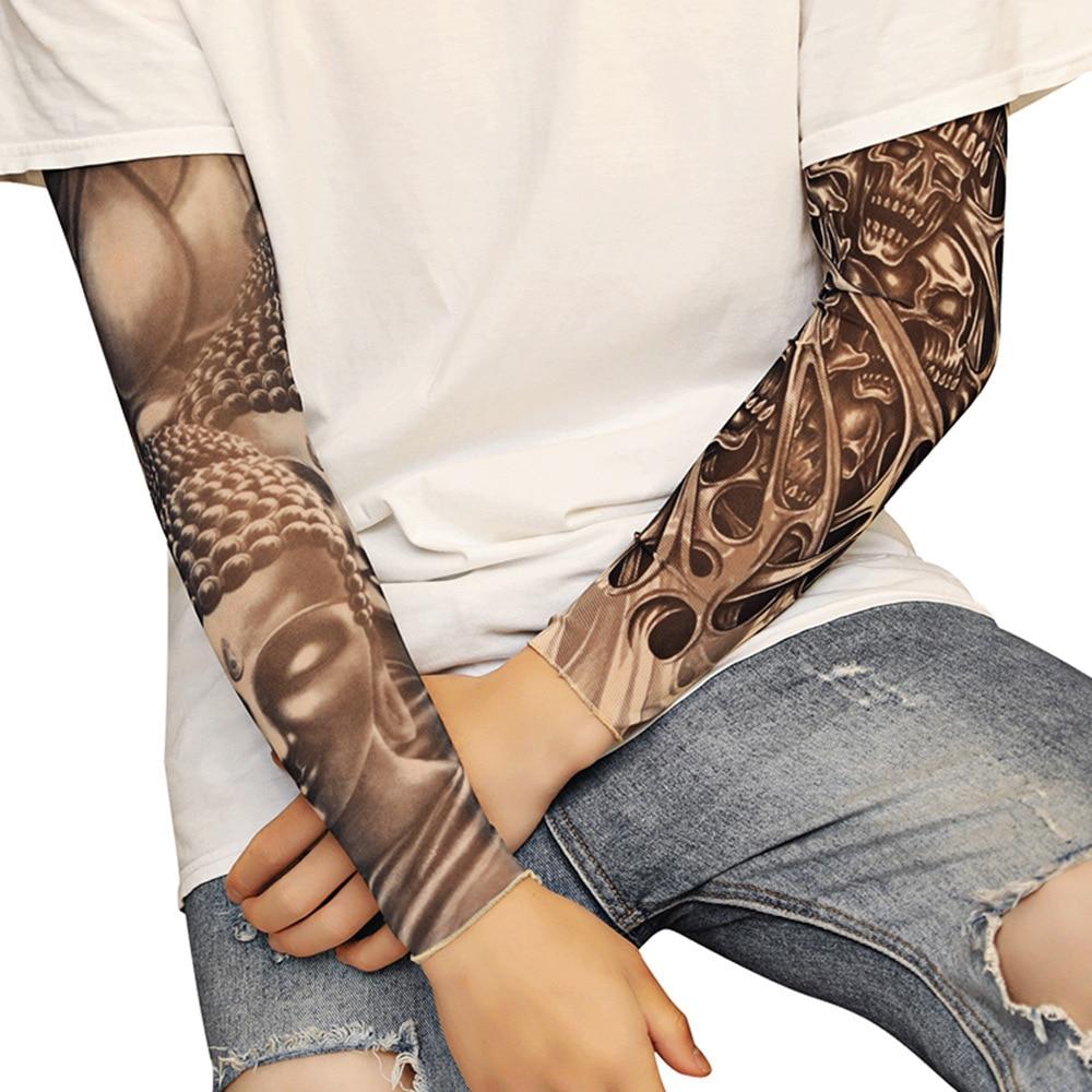 Fashion Tattoo Sleeves Arm Warmer Unisex UV Protection Outdoor Fake Tattoo Arm Sleeve Warmer Sleeve Mangas Tatuagem Arm Cover