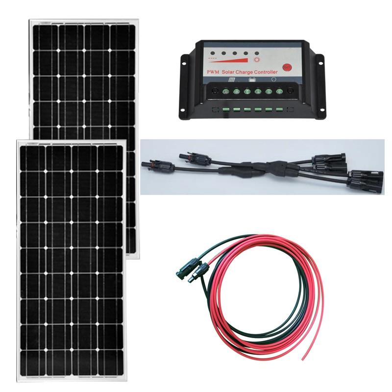 TUV CE Solar Panel Kit 200W 24V Module 12v 100W 2 Pcs Charge Controller 12v/24v 10A Y Branch Connector Motorhome Car