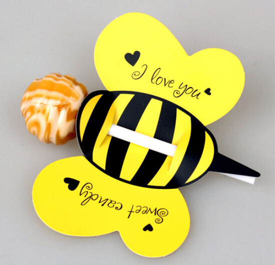 Creative Vivid Animal Small Bees Lollipop Decorative Paper Card Handmade Lolly Pop Candy