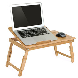 Ergonomics Adjustable Laptop Desk with USB Cooling Fan for Lap Table Bamboo Foldable Breakfast Serving Bed Tray Cozy Yellow