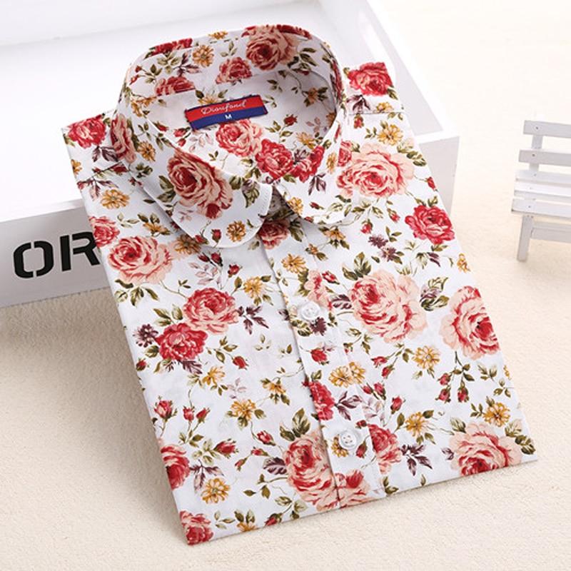 2018 Algodón de Verano Blusas de Las Mujeres Camisas de Impresión - Ropa de mujer - foto 5