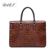BAQI Men Briefcase Bag Handbags Crocodile Pattern Cow Leather Man Shoulder Messenger Bag Password Lock Men Computer Business Bag цены