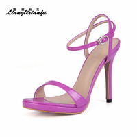 LLXF Summer 12cm Thin High Heeled Buckle shoes woman Patent Leather SM Pumps Party sandals sandalias mujer Plus:35 41 42 43