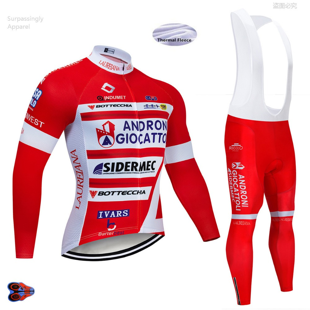 Pro UCI Team Red Andro Cycling Jersey Winter Bicycle Clothing Bike Clothes Long Sleeve Jersey Mountain Bike Jersey Sets 9D Gel-in Cycling Sets from Sports & Entertainment    3