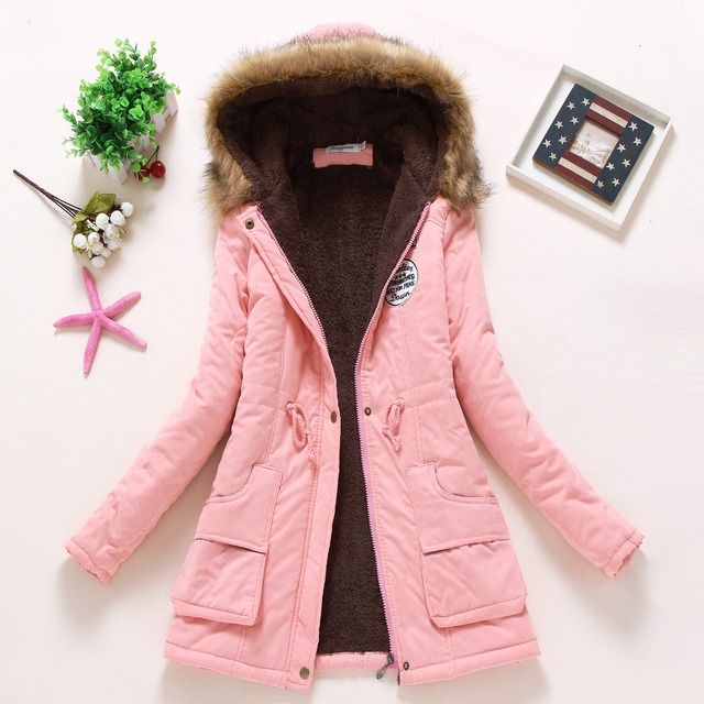 new winter military coats women cotton wadded hooded jacket medium-long casual parka thickness plus size XXXL quilt snow outwear 5