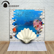 Allenjoy photographic background Shell undersea coral fish backdrops newborn boy vinyl photocall 200cm*300cm