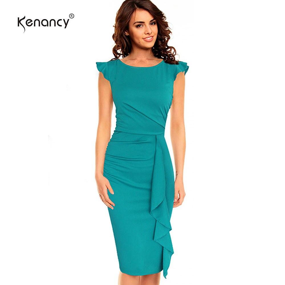 Kenancy 3XL Plus Size Solid Ruffles & Folds Dress Women Party & Work ...