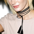DIY Long tassel and  Sexy Hollow Lace Black Choker Necklace  Women Fashion Accessories   Necklace N199