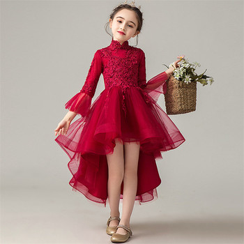 2020 Kids Girls Elegant Wedding Birthday Princess Party Pageant Dress Children Formal Party Half Sleeves Lace Tulle Dress 2-14 Y