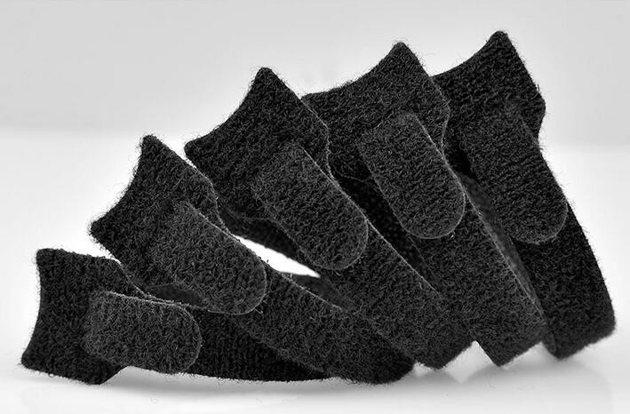10pcslot 20013mm T type black Nylon Reusable self adhesive Velcro Cable Ties with Eyelet Holes (5)