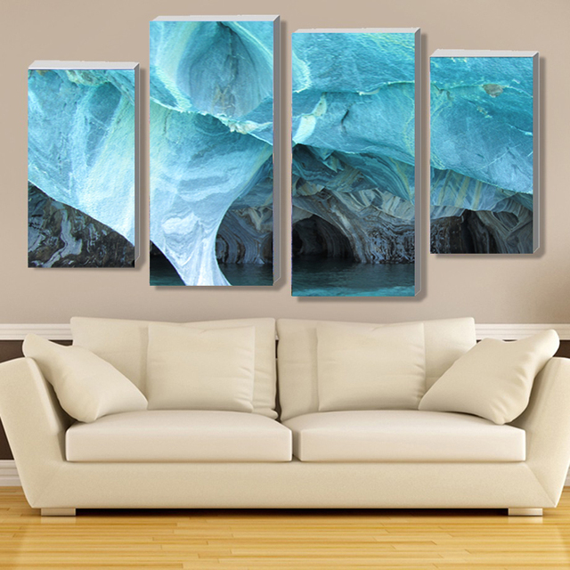 4 Pieces Canvas Art Prints Painting Modern Marble Turquoise Wall Picture For Living Room Home Decor