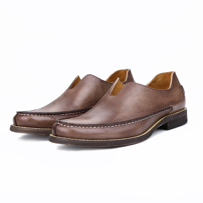 Men's Classic Casual Breathable Soft Leather Driving Loafer Coffee 38