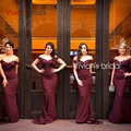 2017 Burgundy Lace Mermaid Bridesmaid Dresses V-Neck Off the Shoulder Zipper Sweep Train Cheap Prom Party Gowns Robe De Soiree