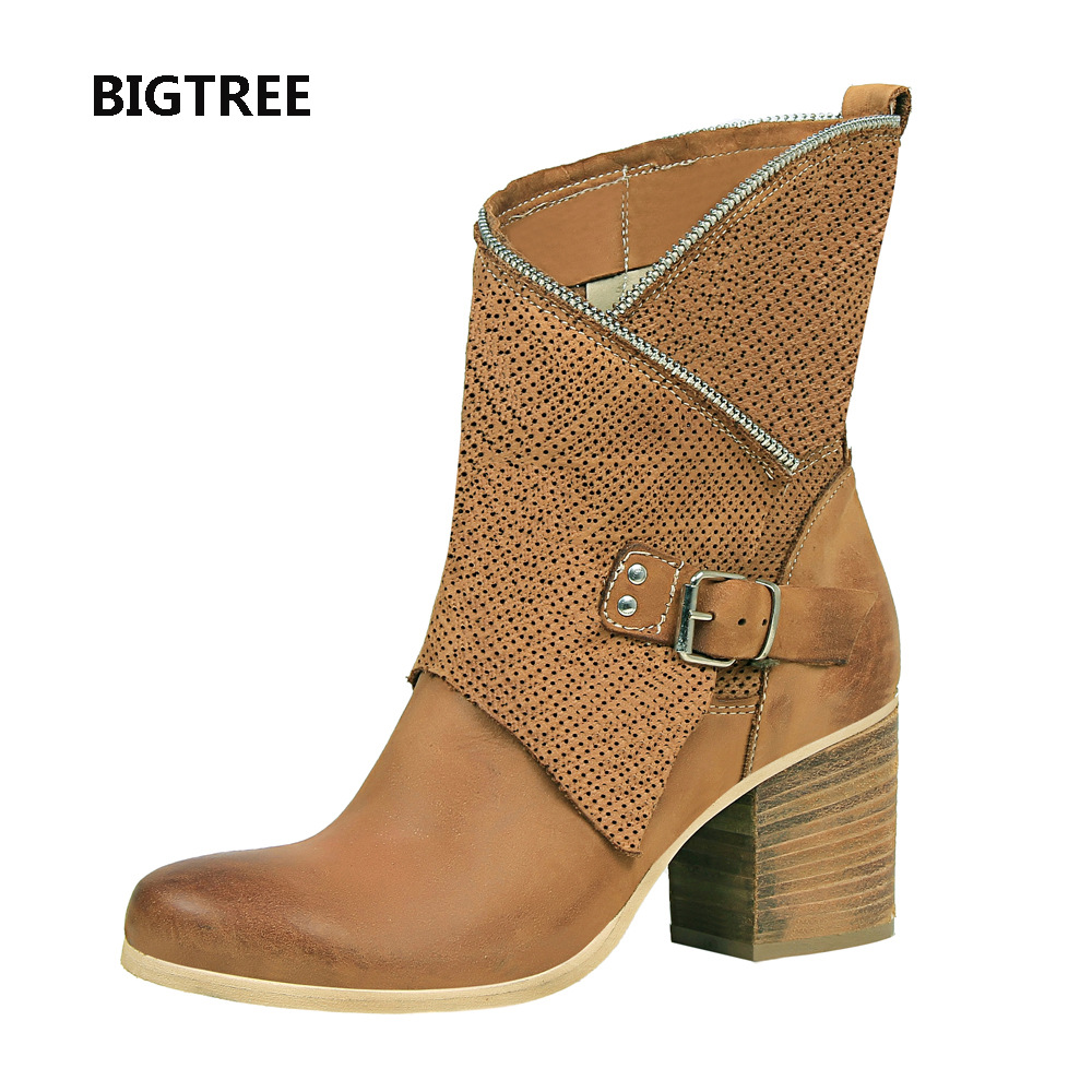 Free shipping real pic khaki black round toe women lady classic comfortable easy walking short riding boot with buckle zip-in Ankle Boots from Shoes    1