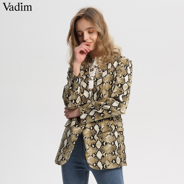 Vadim vintage snake print blazer zakken Gekerfd kraag lange mouwen jas bovenkleding vrouwelijke retro losse casaco feminines CA154