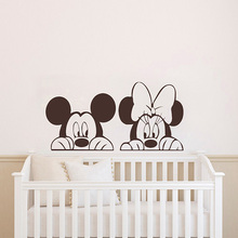 Mickey Minnie Mouse Wall Sticker For Kid Room Cartoon Animals Decals Decoration Baby Bedroom Nursery Decor Art Poster ZX558