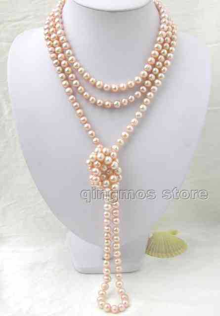 "SALE Super Long 80""  Natural 7-8mm Pink High Luser FW Pearl Necklace-nec1639 Free shipping Free shipping"