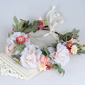 2 Colors Bride Headband Wedding Rose Flower Wreath Party Floral Garlands Crown Hair Accessories With Ribbon Belt Adjustable Hot