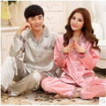 New Women Silk Pajamas Spring And Autumn Love Sleepwear Solid Mens Silk Pyjamas Women Lounge Couple Pajamas Set Plus Size 4XL