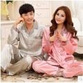 Nuevo de Las Mujeres Pijamas de Seda de Primavera Y Otoño Amor ropa de Noche Sólido Mens Seda Pijamas de Las Mujeres Pijamas Par de Consigna Más Tamaño Salón 4XL