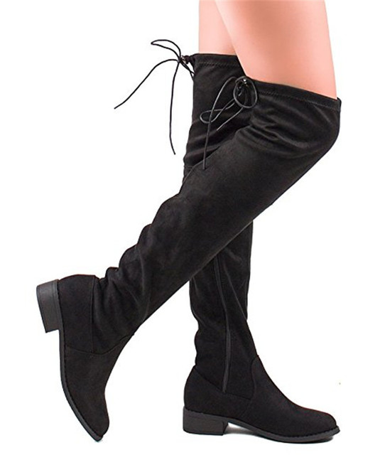 236bf610ee9 Fashion Thigh High Boots Women Snow Boots Stretch Fabric zip up Over The Knee  Boots Sexy