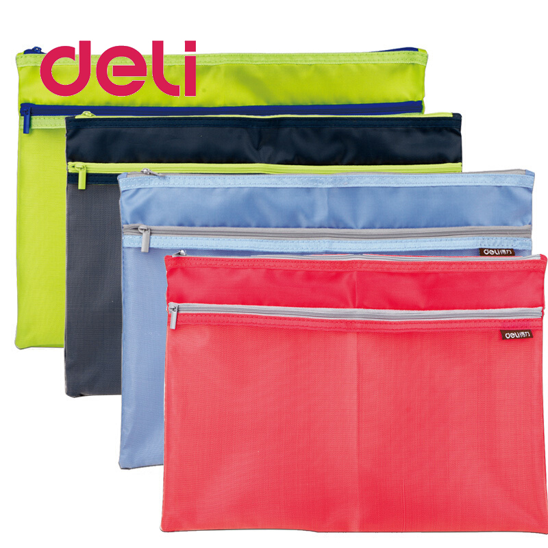 Deli 1pcs Zipper Cloth File Bag A4 Large Side Pockets Translucent Simple Double Layer Mesh Canvas Storage Document Bag 5841