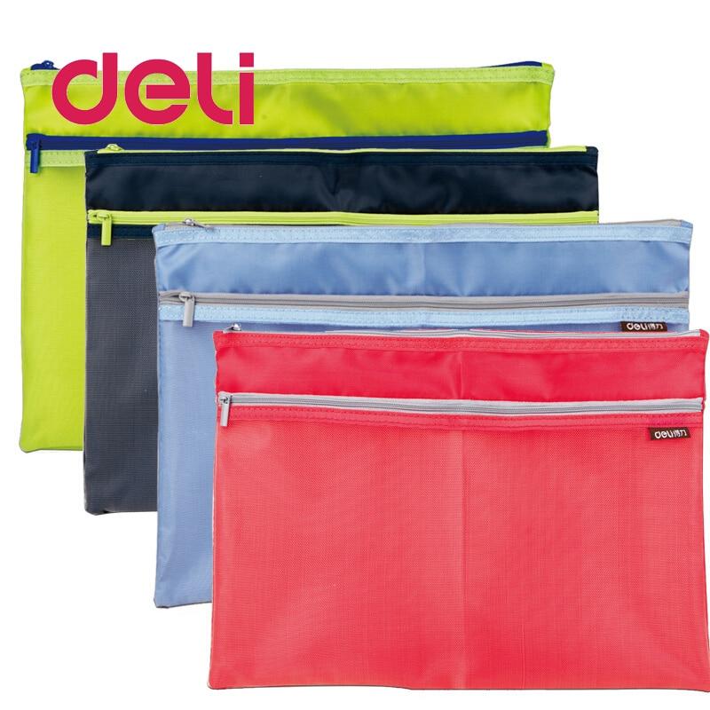 Deli 1pcs Zipper Cloth File Bag A4 Large Side Pockets Translucent Simple Double Layer Mesh Canvas Storage Document Bag 5841