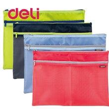 Deli 1pcs Zipper cloth file bag A4 large side pockets translucent simple double layer mesh canvas storage Document 5841