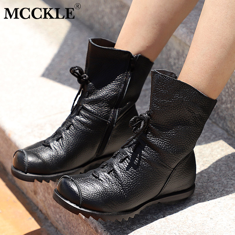 MCCKLE Women Ankle Boots Plus Size Autumn Low Heel Shoes Platform Casual Female Short Boot Fashion Lace Up Fold Ladies Footwear mcckle women s lace up rivets buckle ankle martin boots ladies fashion thick heel platform high quality leather autumn shoes